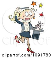 Blond Female Magician Performing The Rabbit In The Hat Trick