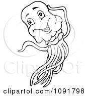 Black And White Happy Jellyfish