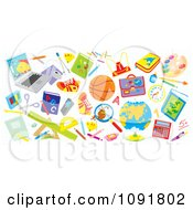 Clipart School And Sports Items Royalty Free Vector Illustration by Alex Bannykh