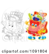Clipart Outlined And Colored Waving Backpacks Royalty Free Illustration