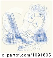 Clipart Blue Ink Sketched Man Working On A Desktop Computer Royalty Free Vector Illustration by Alex Bannykh