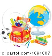 Clipart Backpack With A Soccer Ball Globe And School Supplies Royalty Free Vector Illustration