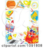 Clipart Waving Backpack Full Of Supplies Royalty Free Vector Illustration