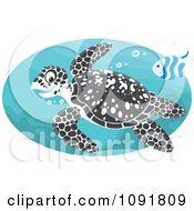 Clipart Black Spotted Sea Turtle And Fish Swimming Royalty Free Vector Illustration