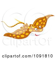 Clipart Spotted Brown Manta Ray Royalty Free Vector Illustration by Alex Bannykh