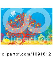 Clipart Seascape With A Shrimp Red Coral And Jellyfish Royalty Free Illustration by Alex Bannykh
