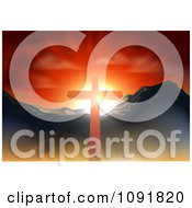 Clipart Christian Crucifix Against A Sunset And Mountains Royalty Free Vector Illustration by AtStockIllustration