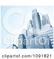Clipart 3d Urban Office Skyskrapers With Blue Copyspace Royalty Free Vector Illustration by AtStockIllustration