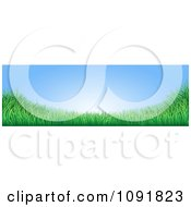 Clipart Blue Sky With Copyspace And Green Grass Website Banner Royalty Free Vector Illustration