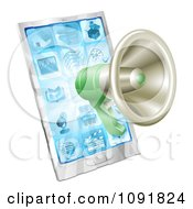 Clipart 3d Green Megaphone Over A Cell Phone Royalty Free Vector Illustration