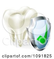 Clipart 3d Molar Tooth Sparkling With A Protection Shield Royalty Free Vector Illustration by AtStockIllustration