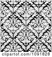 Clipart Black And White Triangular Damask Pattern Seamless Background 4 Royalty Free Vector Illustration