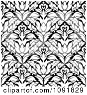 Clipart Black And White Triangular Damask Pattern Seamless Background 5 Royalty Free Vector Illustration