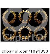 Clipart Gold Leafy Laurel Wreaths Royalty Free Vector Illustration