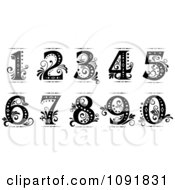 Clipart Ornate Black And White Old Fashioned Numbers Royalty Free Vector Illustration