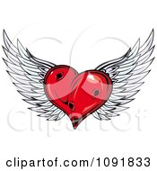 Clipart Red Winged Heart With Holes Royalty Free Vector Illustration