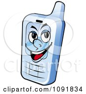 Clipart Grinning Blue Cell Phone Royalty Free Vector Illustration