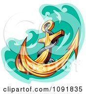 Clipart Plunging Gold Anchor And Green Water Royalty Free Vector Illustration