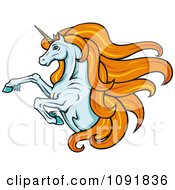 Clipart Leaping Unicorn With Long Orange Hair Royalty Free Vector Illustration by Vector Tradition SM