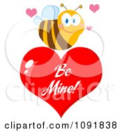 Bee Over A Red Be Mine Valentine Heart