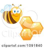 Clipart Friendly Bee And Honeycombs Royalty Free Vector Illustration by Hit Toon