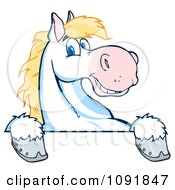 Clipart Happy White And Blond Horse Over A White Sign Royalty Free Vector Illustration