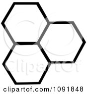 Clipart Three Black And White Honey Combs Royalty Free Vector Illustration by Hit Toon