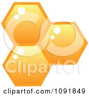 Clipart Three Honey Combs Royalty Free Vector Illustration