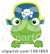 Clipart Green Frog Pirate Looking Over A Surface Royalty Free Vector Illustration by Hit Toon
