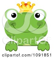 Clipart Green Frog Prince Looking Over A Surface Royalty Free Vector Illustration by Hit Toon