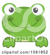 Clipart Green Frog Looking Over A Surface Royalty Free Vector Illustration by Hit Toon