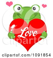 Green Frog Holding A Red Love Valentine Heart
