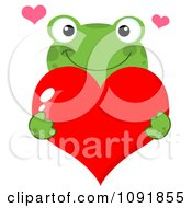 Clipart Green Frog Holding A Red Valentine Heart Royalty Free Vector Illustration by Hit Toon