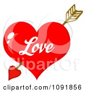 Cupids Arrow Through A Shiny Red Love Valentine Heart