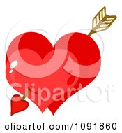 Cupids Arrow Through Two Shiny Red Valentine Hearts