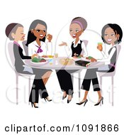 Christian Women Talking And Eating Lunch With A Bible On The Table