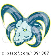 Clipart Retro Manx Loaghtan Sheep With Horns Royalty Free Vector Illustration