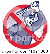 Clipart Retro Brutal Police Officer And Prohibited Symbol Royalty Free Vector Illustration