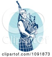 Clipart Retro Blue Bagpipe Player Royalty Free Vector Illustration