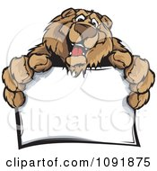 Clipart Friendly Bear Holding Out A Blank Sign Royalty Free Vector Illustration
