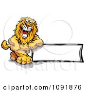 Clipart Friendly Lion Leaning On A Blank Sign Royalty Free Vector Illustration