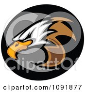 Clipart Bald Eagle Mascot Head And Gray And Black Circle Royalty Free Vector Illustration