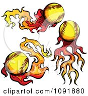 Clipart Fire Engulfed Baseballs Royalty Free Vector Illustration