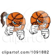 Clipart Male And Female Brawling Basketballs Royalty Free Vector Illustration