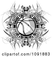 Clipart Black And White Basketball And Tribal Designs Royalty Free Vector Illustration by Chromaco