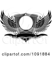 Clipart Black And White Ornate Wings Wwith A Shield And Banner Royalty Free Vector Illustration by Chromaco
