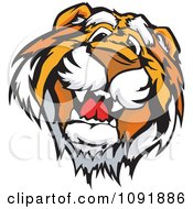Clipart Friendly Tiger Mascot Face Royalty Free Vector Illustration by Chromaco