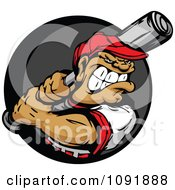Clipart Buff Baseball Athlete Ready To Swing A Bat Over A Gray And Black Circle Royalty Free Vector Illustration