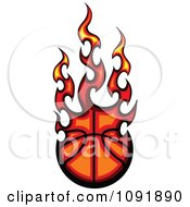 Clipart Fire Engulfed Basketball Royalty Free Vector Illustration by Chromaco