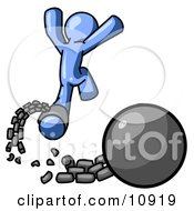 Blue Man Jumping For Joy While Breaking Away From A Ball And Chain Getting A Divorce Clipart Illustration